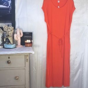 Long orange soft dress